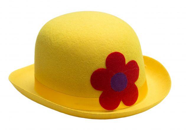 Clown Bowler Hat Yelllow Felt