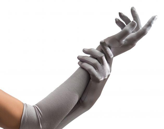 Nylon Gloves Silver Long - Pair - 40 cm