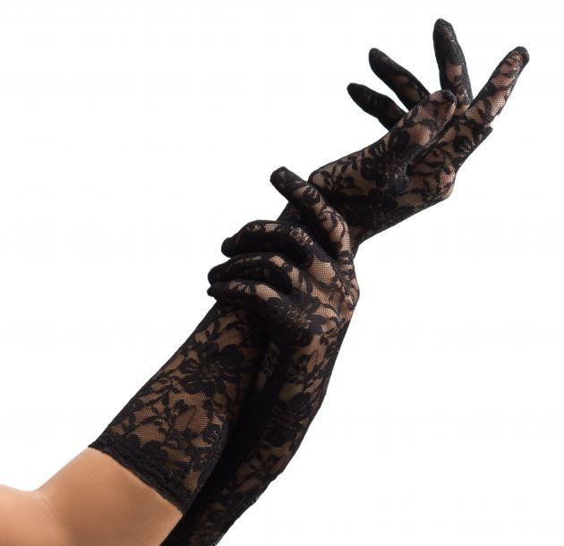 Lace Gloves Long Black - 38 cm