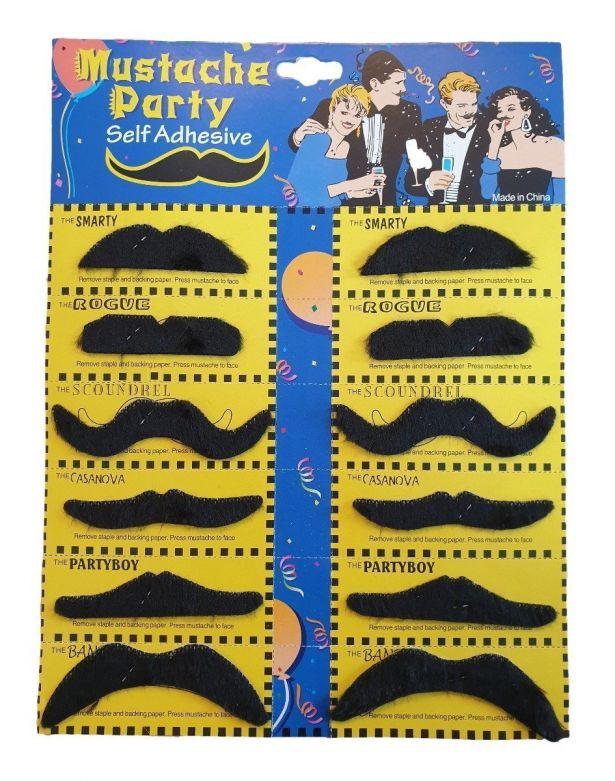 Mustaches Black - 12 pcs
