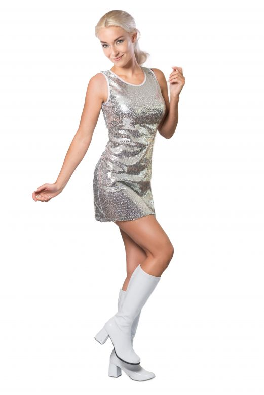 Party Dress Sequins Silver