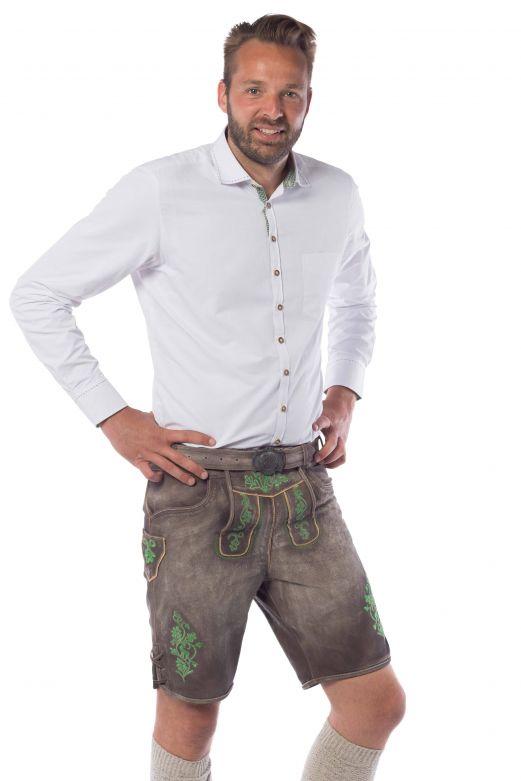 Lederhose Gaudi Short Brown/ Green