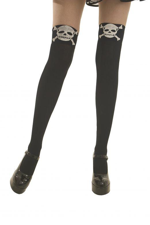 Stocking Black with Skeleton - One-Size