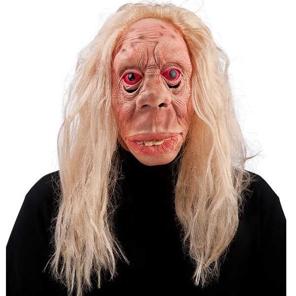Old Witch latex mask with blond hair