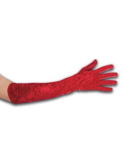 Red chenille gloves in pbh