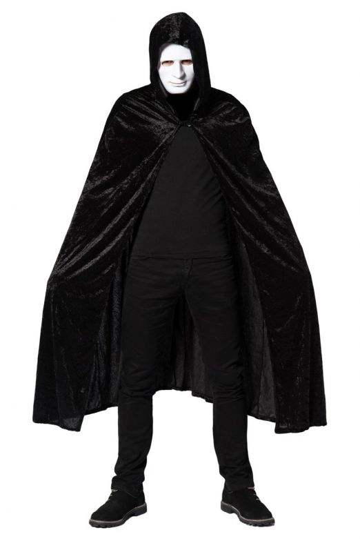 Hooded Cape Black Velours