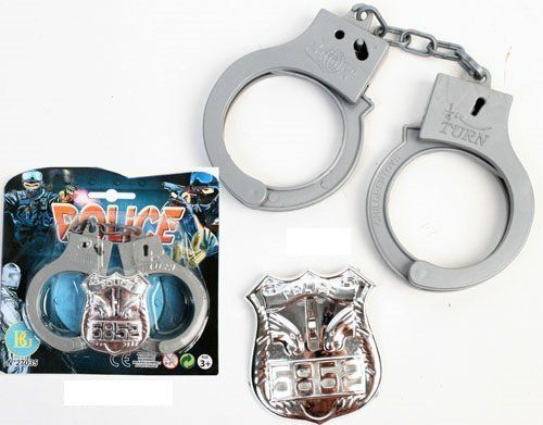 Plastic Handcuffs and Badge
