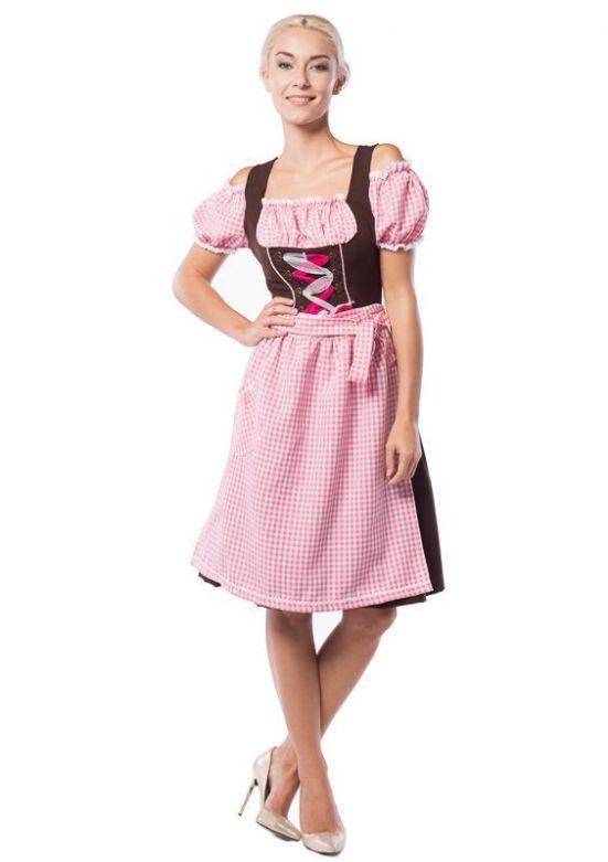 Oktoberfest Dress Anne-Ruth Long Pink/Brown
