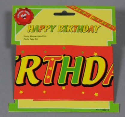 Party tape happy birthday 6m on card