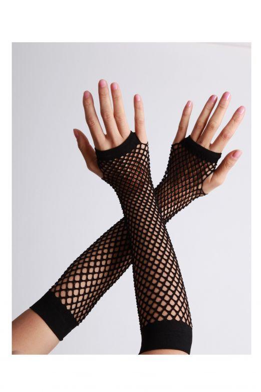 Fingerless Gloves Long Fishnet Black