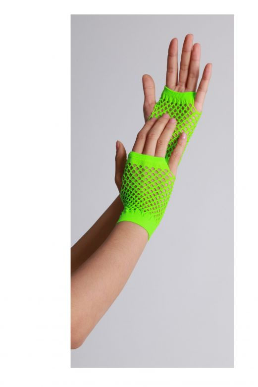 Fingerless Gloves Short Fishnet Neon Green