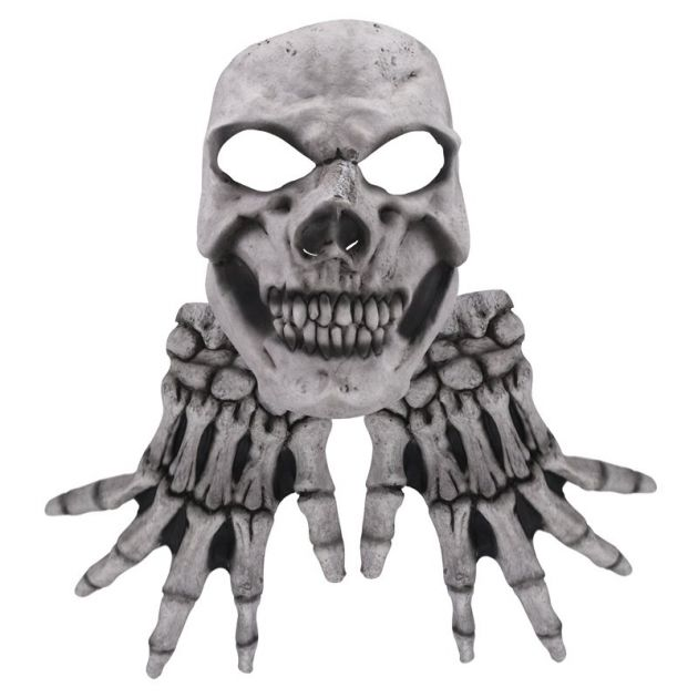 Face Mask with Hands - White Skull