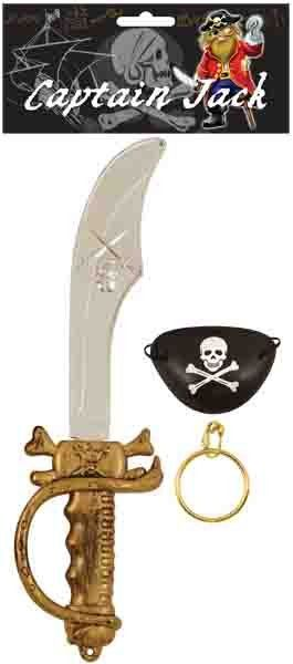 Pirate Sword 37.5CM with eyepatch and earring (child)