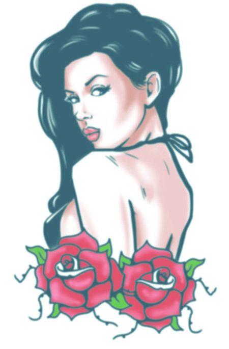 Biker Tattoos - Rose Pin Up