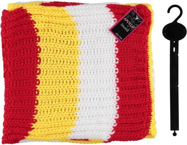 Carnaval Snood Knitted Red/White/Yellow