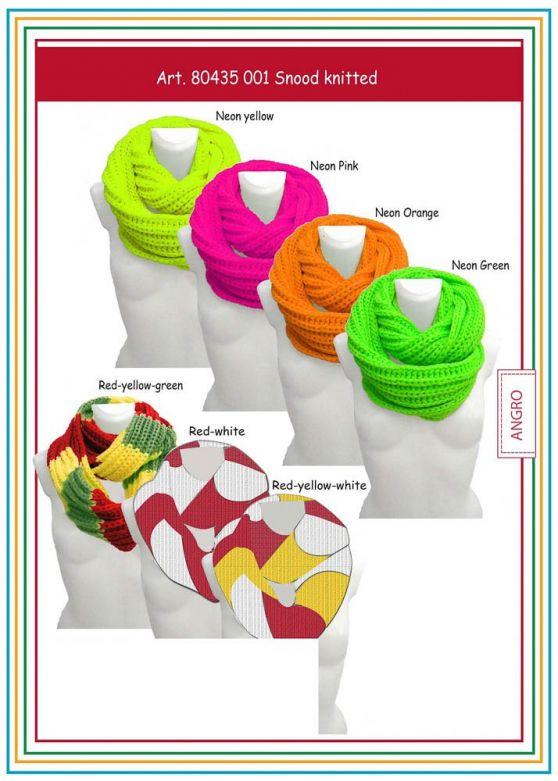 Carnaval Snood Knitted Red/Yellow/Green