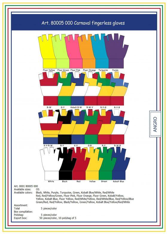 Carnaval Fingerless Gloves Red/Yellow/Green