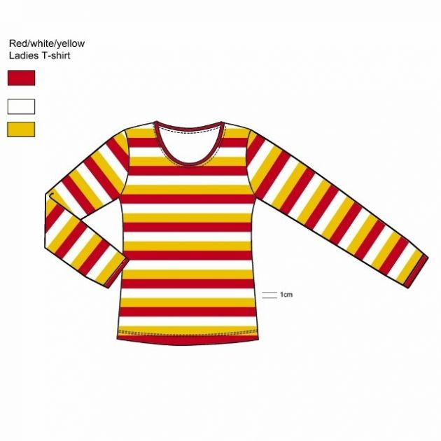Carnaval shirt long sleeve Red/White/Yellow / S