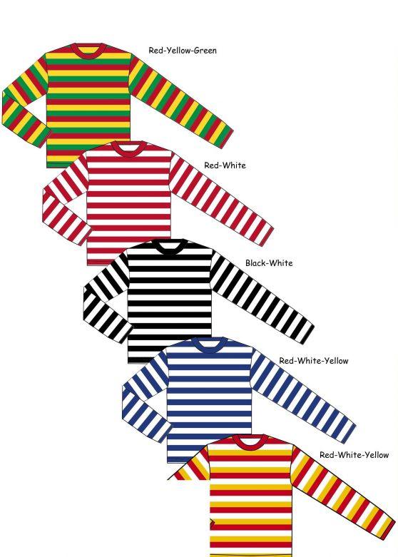 Carnaval shirt Children long sleeve Red/Yellow/Green