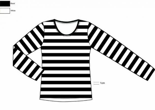 T-Shirt Long Sleeve ''Dorus'' Black/White