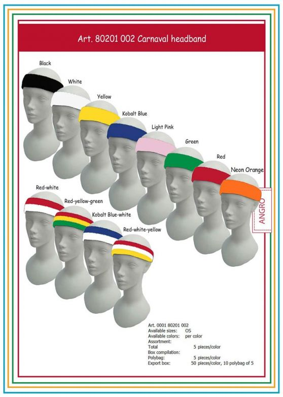 Carnaval Head-Band Red/Yellow/Green